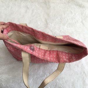 Bulgari Bags - Bulgari Canvas Leather Monogrammed Tote Bag Pink